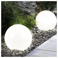 etc-shop Gartenleuchte, LED Solar Außenleuchte Außenbeleuchtung Beleuchtung Gartenleuchte Lampe Leuchte Kugelform 2er-Set