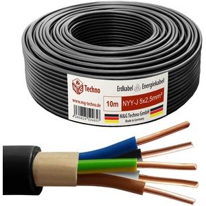 M&G Techno 10m NYY-J 5x2,5 mmІ Erdkabel Elektrokabel Beton und Freien Kupfer Made in Germany