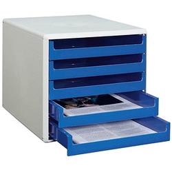 M&M Schubladenbox   blau DIN A4 mit 5 Schubladen