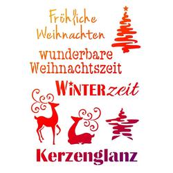 Viva Decor Malschablone Schablone Weihnachtsmotive + Schriften, DIN A4