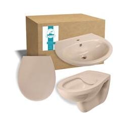 ® - Set in Beige-Bahamabeige aus Wand-WC, Toilettendeckel und Waschbecken in Beige-Bahamabeige