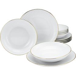 my home Tafelservice Leona, (Set, 12 tlg.), mit handgemaltem, breiten Goldband weiß Geschirr-Sets Geschirr, Porzellan Tischaccessoires Haushaltswaren