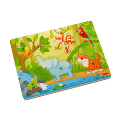 Haba Puzzle Sound-Puzzle Im Dschungel, 6 Puzzleteile bunt
