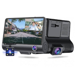 cofi1453 Car Video Recorder 3in1 FullHD 1080p 170° 3 Kameras - Front, Parkplatz, Innenraum Fahrrekorder mit Mikrofonkamera YC-001 schwarz Videokamera