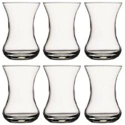 Pasabahce Teeglas Ince Belli Teegläser, Bicchiere Amari 6-teilig 125 cc, stabil und dekorativ Türkische Teegläser