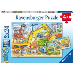 Viel zu tun auf der Baustelle. Puzzle 2 x 24 Teile