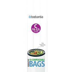 Brabantia Umweltfreundliche Müllbeutel C, 10-12 Ltr [10 Beutel/Rolle] Grün/Weiß