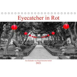 Eyecatcher in Rot (Tischkalender 2021 DIN A5 quer)