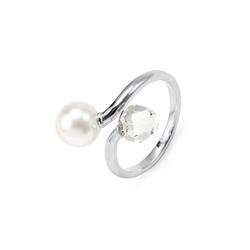 Ring verziert mit Glasperle und Glaskristall