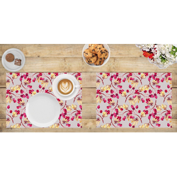 Platzset, Tischset I Platzset - Blumen - Gemalte Vogelbeeren - 12 Stück aus hochwertigem Papier in Aufbewahrungsmappe, perfekt für Frühlingsdekoration, Tischsetmacher, (12-St)