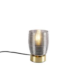 Art Deco Tischlampe Messing mit Rauchglas - Michi