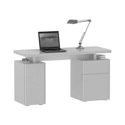 Laptop Schreibtisch in Weiß Hochglanz 135 cm breit