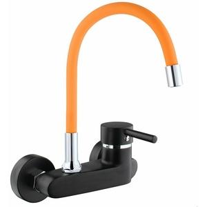 ATCO® Wandarmatur schwarz-orange FLEXO Spültischarmatur Küchenarmatur Schwenkbar