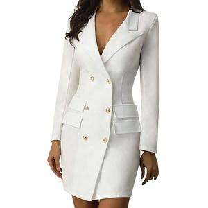 Sunday Damen Business Kleider Langarm Herbstkleid Elegant Windjacke Kleid Partykleid Ballkleid Slim Fit Bodycon Kleid