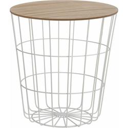 Meinposten Beistelltisch Tisch mit Stauraum Ø 39 cm H=41 cm Metall/Holz Nachttisch weiß, Durchmesser ca. 39 cm Höhe ca. 41 cm