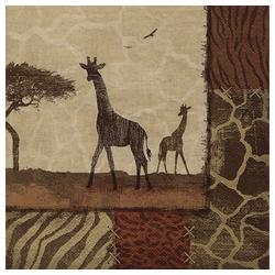 Linoows Papierserviette 20 Servietten Afrika, Giraffe, Giraffen in der, Motiv Afrika, Giraffe, Giraffen in der Savanne