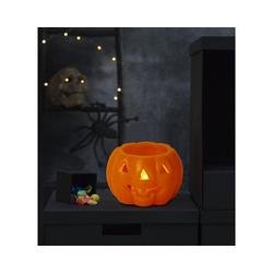 STAR TRADING LED-Kerze LED Kerze/Teelicht Halloween - Kürbis - Echtwachs - gelbe LED - H: 6,5cm, D: 9,5cm - orange