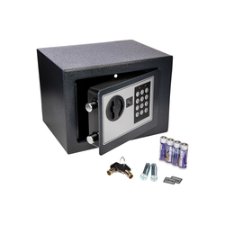 ONVAYA Tresor Mini Tresor aus Stahl, 17 x 23 x 17 cm, Möbeltresor, Safe, Wandtresor mit Zahlenschloss, Geldtresor