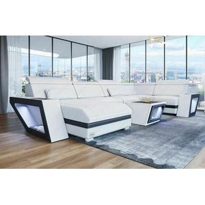 Sofa Wohnlandschaft Ecksofa CATANIA U Form Design weiss schwarz Leder Ottomane