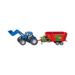 Siku Spielzeug-Auto New Holland mit Frontlader und Strautmann