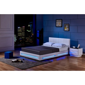 Home Deluxe LED Bett Asteroid - weiß, 140 x 200 cm