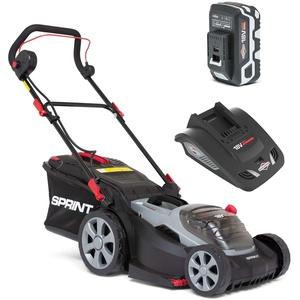 Sprint 18V Lithium-Ionen 37 cm Akku-Rasenmäher 370P18V, inklusive 1x 5Ah Batterie und Ladegerät, 5 Jahre Garantie, rot