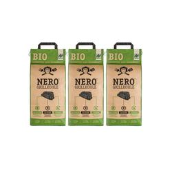 NERO Kohlekorb BIO Grill-Holzkohle - 3 x 2,5kg Sack - Garantiert ohne Tropenholz - Holz aus Deutschland