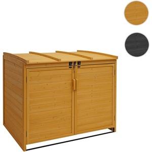 XL 2er-/4er-Mülltonnenverkleidung HWC-H75, Mülltonnenbox, erweiterbar 116x66x92cm Holz FSC-zertifizi