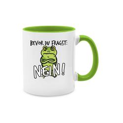Shirtracer Tasse Bevor du fragst: Nein! - Frosch - Schwarz - Tasse zweifarbig, Keramik