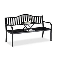 Relaxdays Gartenbank 150 x 57,5 x 90 cm schwarz inkl. Klapptisch