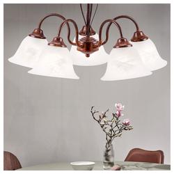 etc-shop Kronleuchter, Kronleuchter Hänge Lampe alabaster Glas weiß Decken Leuchte Pendel Ess Zimmer Beleuchtung Lüster rost