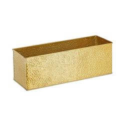 relaxdays   Blumenkasten Metall 40,0 x 12,5 x 13,5 cm gold