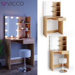 VICCO LED Schminktisch DEKOS Frisiertisch Kommode Kosmetiktisch Eiche Hocker