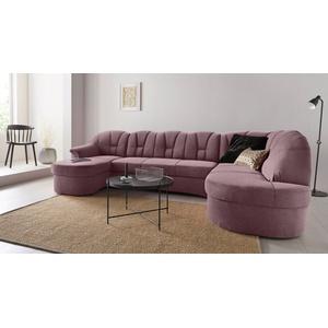 DOMO collection Wohnlandschaft Papenburg, in großer Farbvielfalt, wahlweise mit Bettfunktion, frei im Raum stellbar lila
