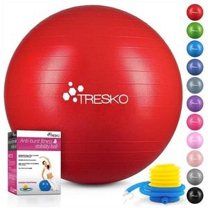TRESKO Gymnastikball, Yogaball mit GRATIS Übungsposter inkl. Luftpumpe - Fitnessball BPA-Frei, Sitzball Büro, Sitzball Anti-Burst, 300 kg Belastbarkeit rot 65 cm