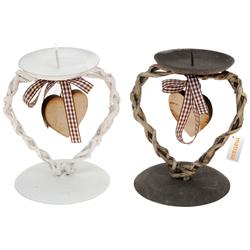 Kerzenhalter aus Metall mit Holzherz - Landhausstil oder Weihnachten
