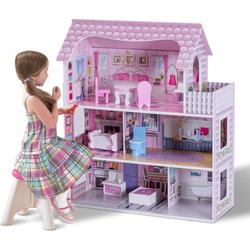 COSTWAY Puppenhaus Puppenstube Puppenvilla Spielzeug Holz, 3 Etagen mit Möbeln und Zubehör