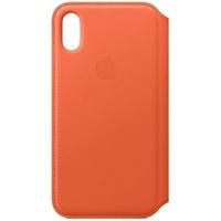 Apple iPhone XS Leder Folio Case abendsonne