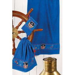 Handtuch Set, Capt'n Sharky, Sharky, mit Piraten Bordüre blau