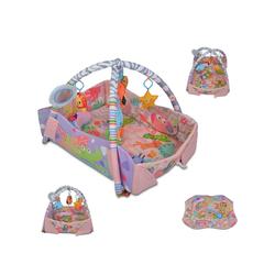Moni Spielbogen Spielcenter 2 in 1 Oase, Krabbeldecke Kissen Spielbogen Spielzeuge Bällebad rosa