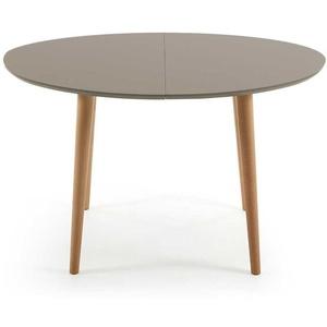 Ausziehtisch in Taupe und Buchefarben ovale Tischform