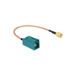 Delock Antennenkabel FAKRA Z-Anschluss W bis RP-SMA M 20 cm Koax (89664)