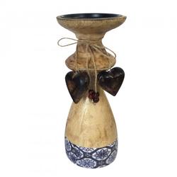 Kerzenständer groß mit 2 Deko Herzen H 25 cm Mangoholz mit Keramikdekor : blau/weiß