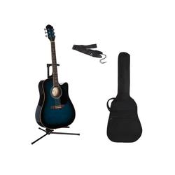 Westerngitarre 4/4, mit Equalizer und Zubehör blau