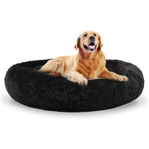 ping bu Hundebett Grosse Hunde Hundebett Donut Hundesofa Katzenbett Donut hundebetten XXL für große Mittlerer Hunde Dog Bed flauschig Hundebett rund weich für Katzen und Hunde (50cm,schwarz)