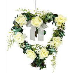 Kunstpflanze Herz Rosen 25/26 cm Rosen, I.GE.A., Höhe 27 cm weiß
