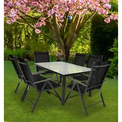 VCM Sitzgruppe Alu Garten - Sitzgruppe 140 x 80 Mattglas, (7-tlg)