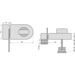 BASI Kastenriegelschloss KS 500, Dornmaß 60 mm - weiß (abgerundet), Sperrbügel