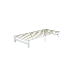Homestyle4u Holzbett, Palettenbett mit Lattenrost, 90 cm weiß 90.00 cm x 200.00 cm x 28 cm