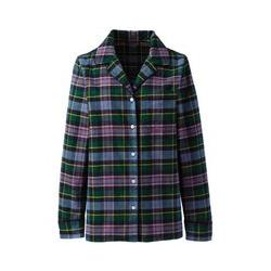 Gemustertes Flanell-Pyjamahemd in großen Größen, Damen, Größe: 48-50 Plusgrößen, Blau, Baumwolle, by Lands' End, Wisconsin Karo - 48-50 - Wisconsin Karo